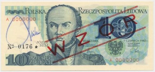 WZÓR 10 złotych 1982 - z podpisem J. Lasockiego, z folderem NBP