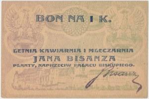 Kraków, J. BISANZ Letnia Kawiarnia i Mleczarnia, 1 korona (1919)
