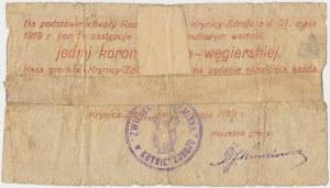 Krynica-Zdrój, 1 korona 1919 - stempel ZWIERZCHNOŚĆ GMINNA...