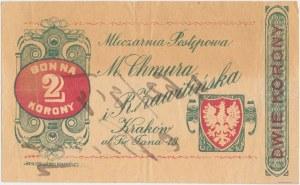 Kraków, M. CHMURA i R.ZAWILIŃSKA Mleczarnia Postępowa, 2 korony (1919)