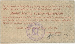 Krynica-Zdrój, 1 korona 1919 - stempel KASA GMINNA...