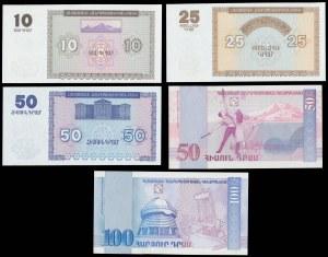 Armenia, 10-100 dram 1993-1998 - zestaw (5szt)