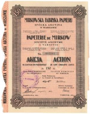 Mirkowska Fabryka Papieru Spółka Akcyjna w Warszawie, 150 zł 1931