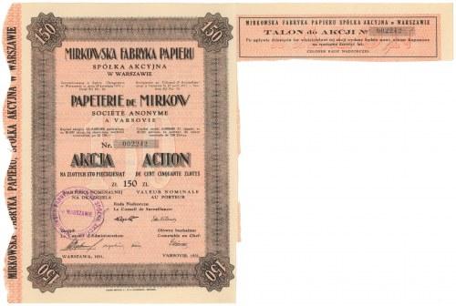 Mirkowska Fabryka Papieru w Warszawie, 150 zł 1931