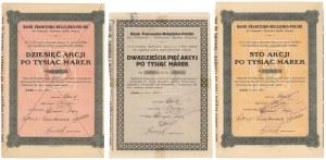 Bank Francusko-Belgijsko-Polski dla Przemysłu i Rolnictwa, 1923 (3szt)