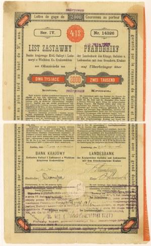 Lwów, Bank krajowy, List zastawny 2.000 koron 1910
