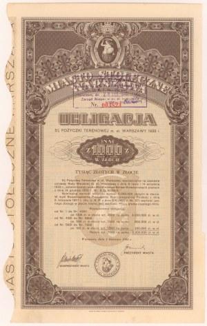 Warszawa Poż. Terenowa m. st. 1933 r. Obligacja na 1.000 zł