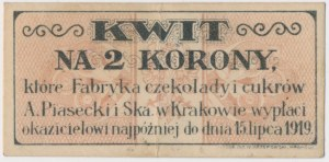 Kraków, A. PIASECKI Fabryka Czekolady, 2 korony 1919