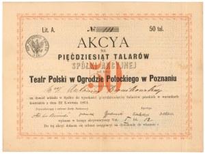 Teatr Polski w Ogrodzie Potockiego w Poznaniu, 50 talarów 1871