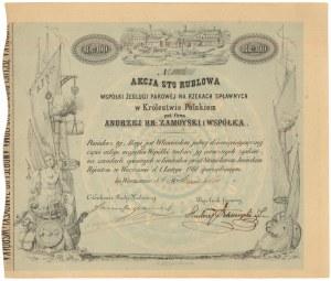 Żegluga Parowa na Rzekach Spławnych w Królestwie Polskiem pod firmą ANDRZEJ HR. ZAMOYSKI i WSPÓŁKA, 100 rubli 1861