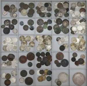 Zestaw starych monet od Antyku po XIX wiek
