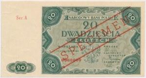 SPECIMEN 20 złotych 1947 - Ser.A 0000000