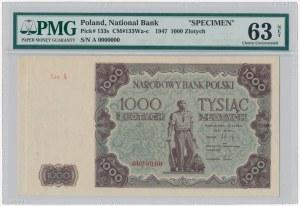 1.000 złotych 1947 - Ser.A 0000000 - wariant kolorystyczny