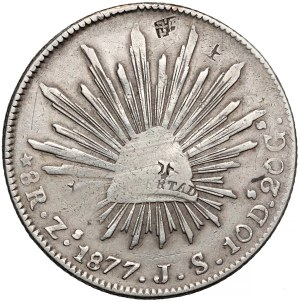 Meksyk, 8 reales 1877, Zacatecas - z kontramarkami