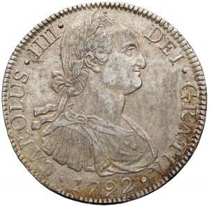 Meksyk hiszpański, Karol IV, 8 reales 1792 Mo - bardzo ładne