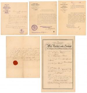 DEMEL - zestaw korespondencji i dokumentów znanego numizmatyka (5szt)