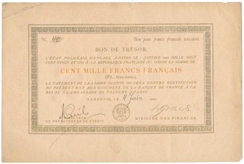 UNIKALNY Bon skarbowy 100.000 franków 1920 - na koszty druku banknotów złotowych emisji 1919