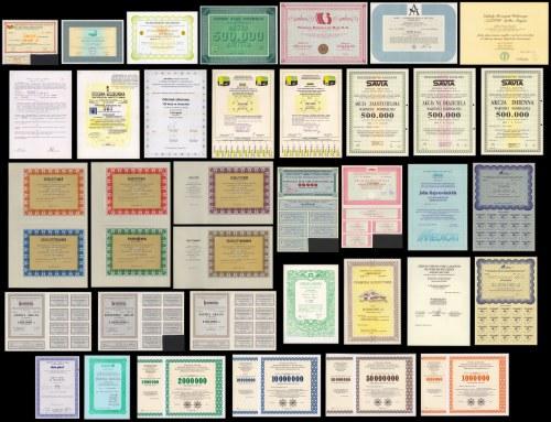 Kolekcja 35 szt. akcji po 1989 roku