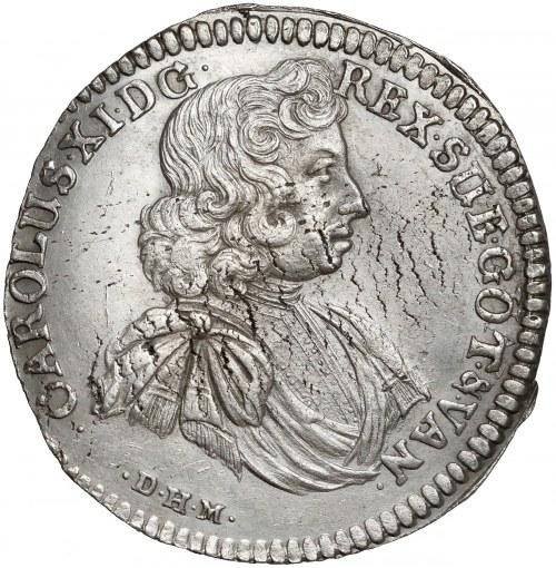 Pomorze, Karol XI, Gulden (2/3 talara) Szczecin 1686 - rzadki