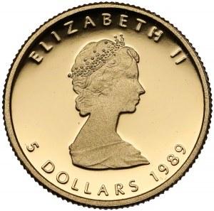 Kanada, 5 dolarów 1989 - Maple leaf