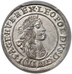 Węgry, Leopold I, 6 krajcarów 1669/8 KB - PCGS MS64