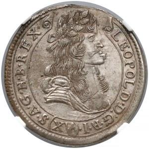 Węgry, 15 krajcarów 1682 KB - NGC MS63