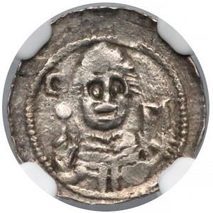 Władysław II Wygnaniec, Denar - Książę i Biskup - NGC AU55