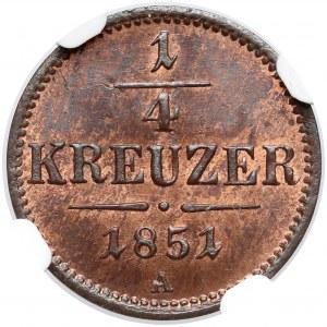 Austria, Franciszek Józef I, 1/4 krajcara 1851-A - NGC MS66 RB