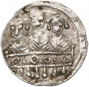 Bolesław IV Kędzierzawy, Denar - Trzech za stołem