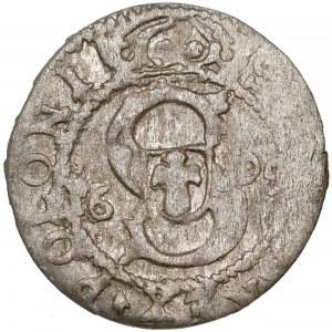Zygmunt III Waza, Szeląg Ryga 1609 - data na Aw. - rzadki