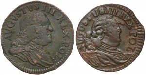 August III Sas, Szelągi Grunthal i Gubin 1754 (2szt)