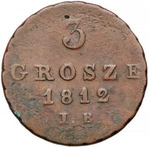 Ks. Warszawskie, 3 grosze 1812 I.B.