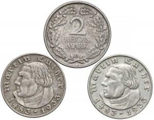 Niemcy, 2 marki 1925-D, 1933-A i D (3szt)