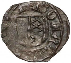 Ks. Opawskie, Przemek I (1377-1433) Halerz Opawa - hełm/tarcza - RZADKI