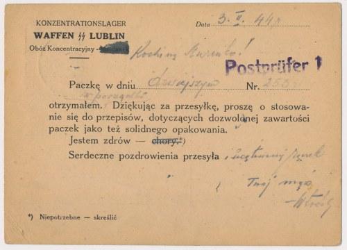 Polska, pocztówka z obozu koncentracyjnego MAJDANEK