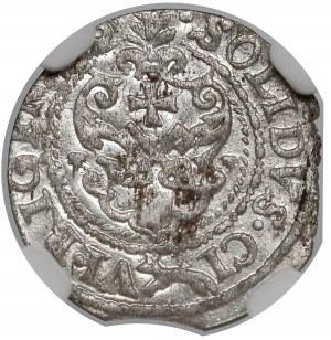 Zygmunt III Waza, Szeląg Ryga 1621 - listki w dół - NGC UNC
