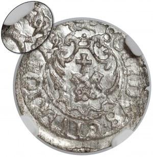 Zygmunt III Waza, Szeląg Ryga 1619 - przebitka 8/9 - NGC MS62 (RRR)