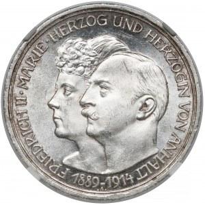 Anhalt-Dessau, 3 marki zaślubinowe 1914-A - NGC MS63
