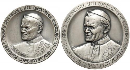 Medale Jan Paweł II SREBRO Kongres Eucharystyczny 1987 2szt. nakłady 50 i 5 szt.