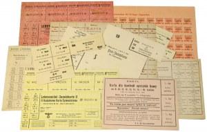 Zestaw kartek zaopatrzeniowych 1916-1944 (10szt)
