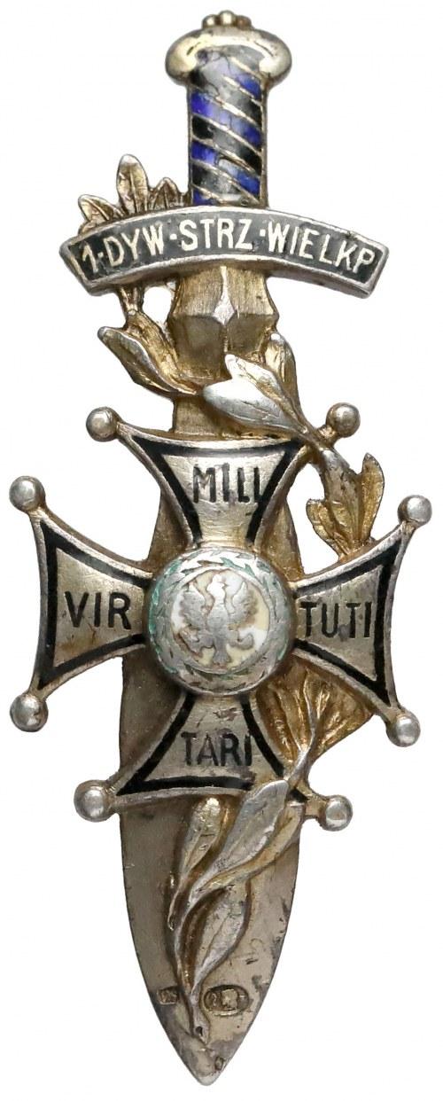 Odznaka, 14 Dywizja Piechoty - z próbą srebra i imiennikiem na awersie