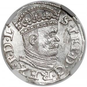 Stefan Batory, Trojak Ryga 1586 - mała głowa - NGC MS64
