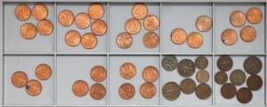 IIRP zestaw 1-5 groszy 1925-37 w tym grupa pięknych 2 gr 1937 (46)