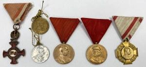 Zestaw odznaczeń i medali pamiątkowych w tym 2x Cieszyn 1906 (6)