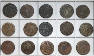 Rosja, 5 kopiejek 1779-1796, zestaw - ładne stany (15szt)