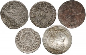 Zygmunt III Waza, Szelągi i grosz 1588-1627 (5szt)