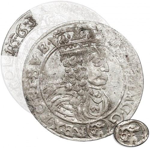 Jan II Kazimierz, Szóstak Lwów 1663 AcpT - Ślepowron na Aw. - RZADKOŚĆ