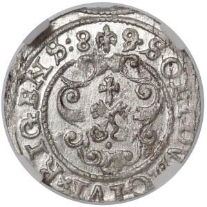 Zygmunt III Waza, Szeląg Ryga 1589/8 - przebitka - NGC MS61