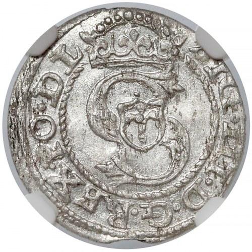 Zygmunt III Waza, Szeląg Ryga 1589 - podwójne 8 - NGC MS62
