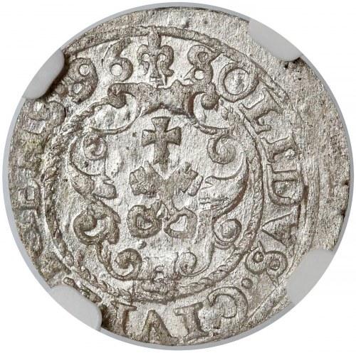 Zygmunt III Waza, Szeląg Ryga 1596 - przebitka z 87? - b.rzadki - NGC MS62